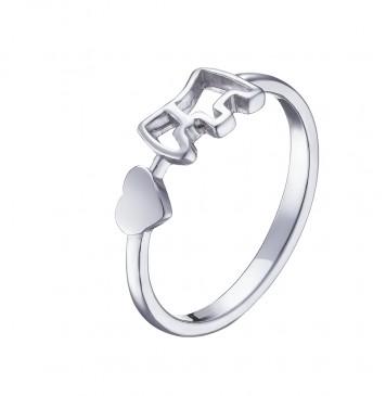 "Серебряное кольцо ""Сердце, Пёсик"" 1009"