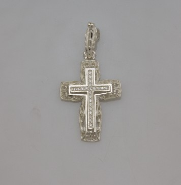 Серебряный крестик с камнями 32106