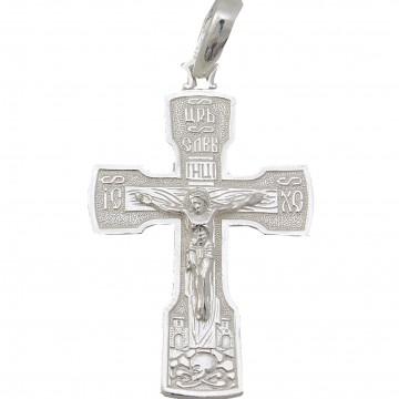 Серебряный нательный крестик с Распятием Христа 3298