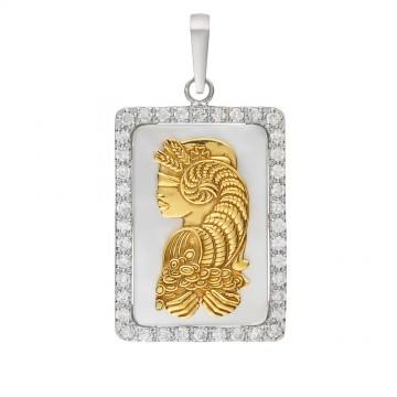 Серебряный кулон Рог Изобилия с перламутром и куб. цирконием 3320