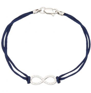 Синий шелковый браслет с серебряной вставкой Бесконечность Маленькая с камнями 4002-sin