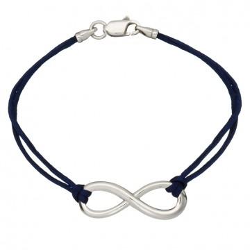 Синий шелковый браслет с серебряной вставкой Бесконечность Большая Гладкая 4003-sin