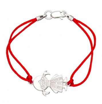 Красный шелковый браслет с серебряной вставкой Девочка с камнями 4004-kr