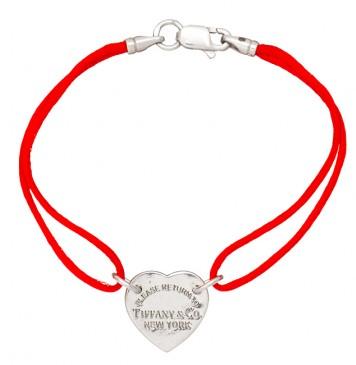 Красный шелковый браслет с серебряной вставкой Сердце без камней 4006-kr