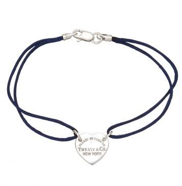 Синий шелковый браслет с серебряной вставкой Сердце без камней 4006-sin