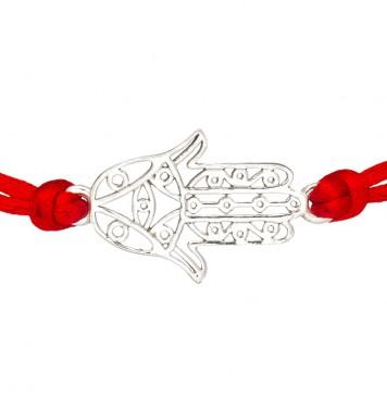 Красный шелковый браслет с серебряной вставкой Хамса 4007-kr