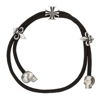 Черный шелк с серебряной вставкой Лилия, Череп, Крест 4008