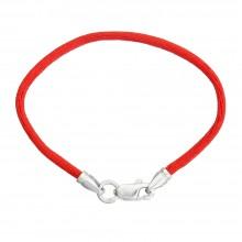 Красный шелковый браслет с серебряным замком 4009-kr