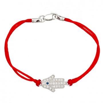 Красный шелковый браслет с серебряной вставкой Хамса с камнями 4010-kr