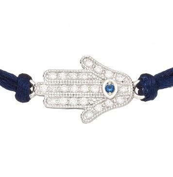 Синий шелковый браслет с серебряной вставкой Хамса с камнями 4010-sin