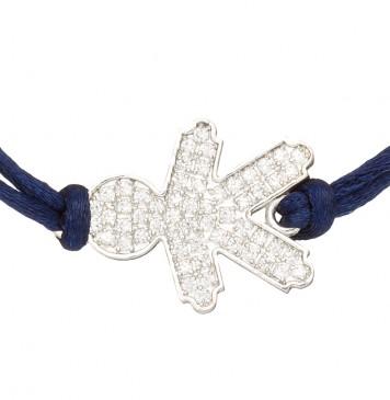 Красный шелковый браслет с серебряной вставкой Мальчик с камнями 4011-sin