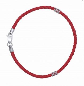 Красный плетеный шелк с серебряными боченками и замком 4012-kr