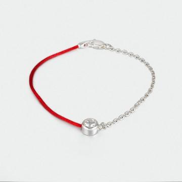 Красный шелковый браслет с серебряной цепочкой и кастом с камнем 4016-kr