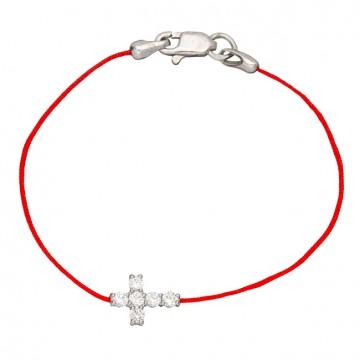 Красная шамбола браслет с серебряной вставкой Крестик с камнями 4021-kr