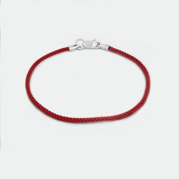 Красный крученый шелковый браслет с серебряным замком 4022-kr