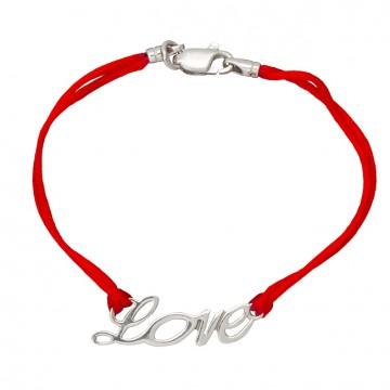 Красный шелковый браслет с серебряной вставкой LOVE 4027-kr