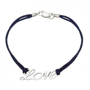 Синий шелковый браслет с серебряной вставкой LOVE 4027-sin