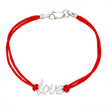 Красный шелковый браслет с серебряной вставкой LOVE с камнями 4028-kr
