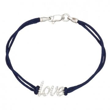 Синий шелковый браслет с серебряной вставкой LOVE с камнями 4028-sin