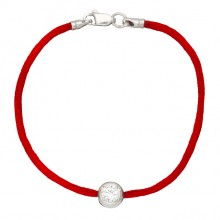 Красный шелковый браслет с серебряной вставкой Каст с камушком 4029-kr