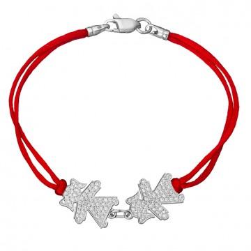 Красный шелковый браслет с серебряными вставками 2 Деввочки с камнями 4034-kr