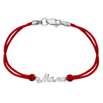 Красный шелковый браслет с серебряной вставкой Мама 4035-kr