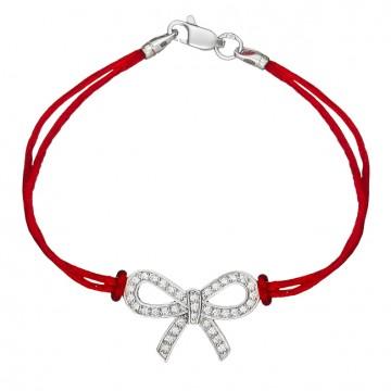 Красный шелковый браслет с серебряной вставкой Бант с камнями 4036-kr