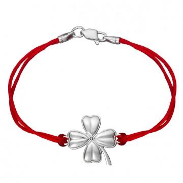 Красный шелковый браслет с серебряной вставкой Клевер 4037-kr