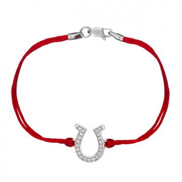 Красный шелковый браслет с серебряной вставкой Подкова с камнями 4040-kr