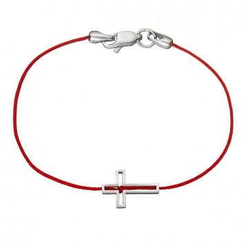 Красная шамбола браслет с серебряной вставкой Крестик 4042-kr