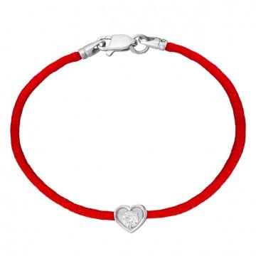 Красный шелковый браслет с серебряной вставкой Сердце с камушком 4043-kr