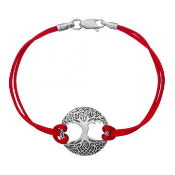 Красный шелковый браслет с серебряной вставкой Древо Жизни 4052-kr