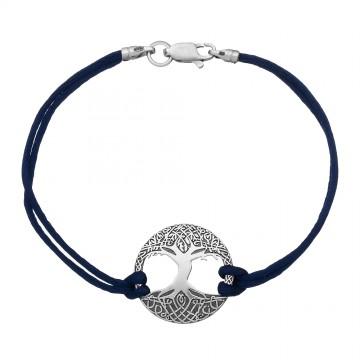 Синий шелковый браслет с серебряной вставкой Древо Жизни 4052-sin
