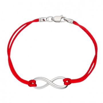 Красный шелковый браслет с серебряной вставкой Бесконечность Маленькая Гладкая 4054-kr