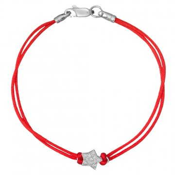 Красный шелковый браслет с серебряной вставкой Звезда 4077-kr
