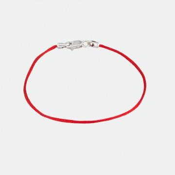 Красный шелковый браслет с серебряным замком 4101-kr