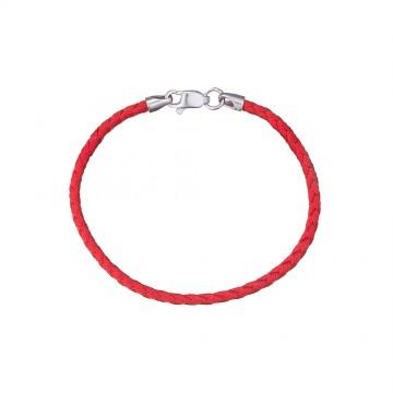 Плетеный красный шелковый браслет с серебряным замком 4115-kr