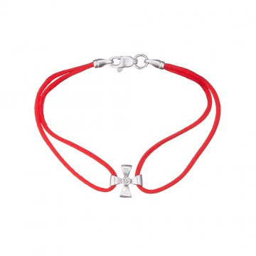 Красный шелковый браслет с серебряной вставкой Бантик 4123-kr