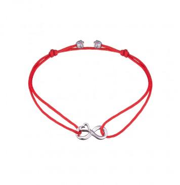 Безразмерный красный браслет с серебряной вставкой Сердце Бесконечность 4128-kr