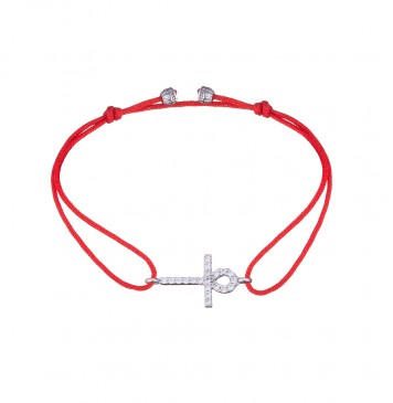 Безразмерный красный браслет с серебряной вставкой Крест 4136-kr