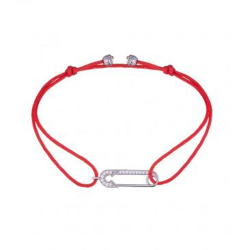 Безразмерный красный браслет с серебряной вставкой Булавка с Камнями 4137-kr
