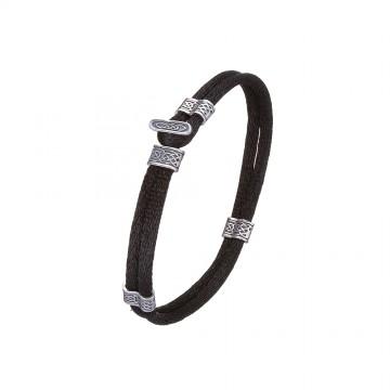 Черный шелковый браслет с серебряными вставками 4140-4