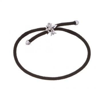 Безразмерный крученый шелковый браслет с серебряной вставкой Лилия Крест 4154-4