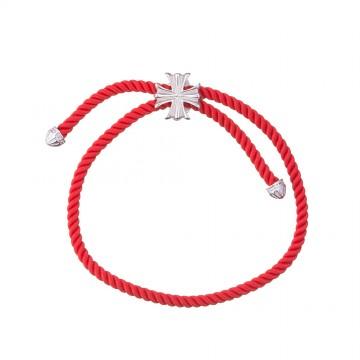 Безразмерный крученый шелковый браслет с серебряной вставкой Лилия Крест 4154-kr