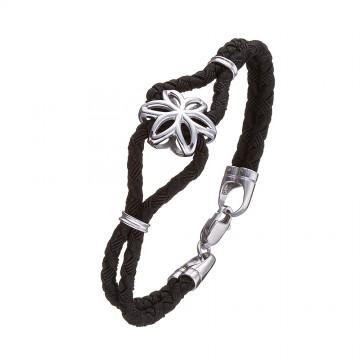 Черный плетеный шелковый браслет с серебряной вставкой Цветок 4161-4