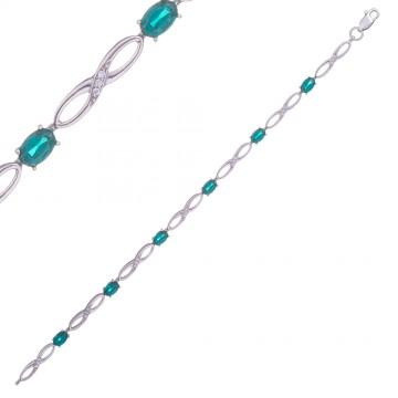 Серебряный браслет Восьмерка с зеленым камнем 4303-2