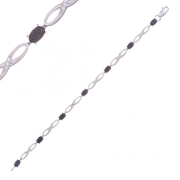 Серебряный браслет Восьмерка с фиолетовым камнем 4303-3