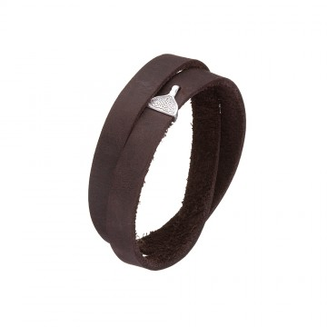 Кожаный коричневый браслет с серебряным замком Крюк 4403-Ko