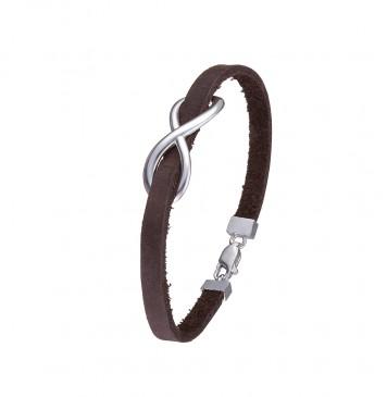 Кожаный коричневый браслет с серебряной вставкой Бесконечность 4404-Ko
