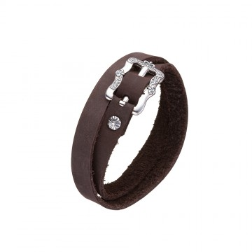 Кожаный коричневый браслет с серебряной пряжкой Лилия 4410-Ko